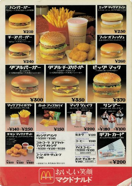 ハンバーガー 値段 マック